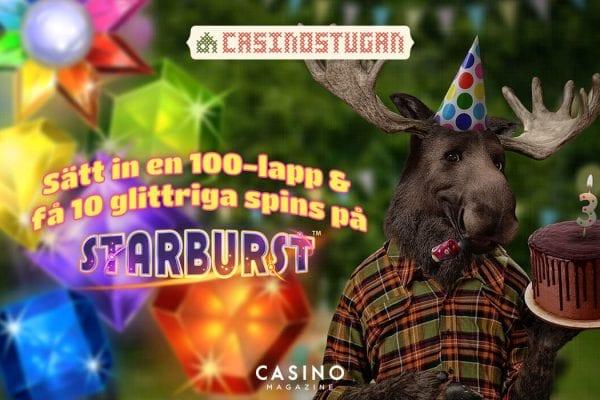 Casinostugan kalas med freespins på starburst