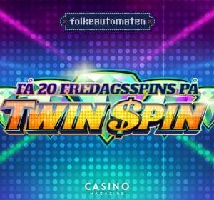 Banner free spins kampanj på Twin Spin