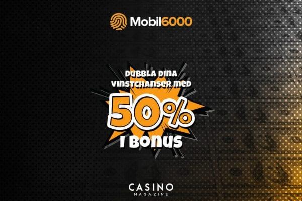 Mobil6000 banner matchbonus kampanj 50%