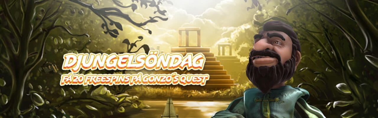 Casinostugan Gonzos quest spins banner djungel