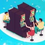 Figurer som spelar på slotmaskiner.