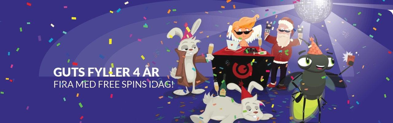 Guts födelsedagsfirande, Kamma hem omsättningsfria free spins varje dag i Maj!