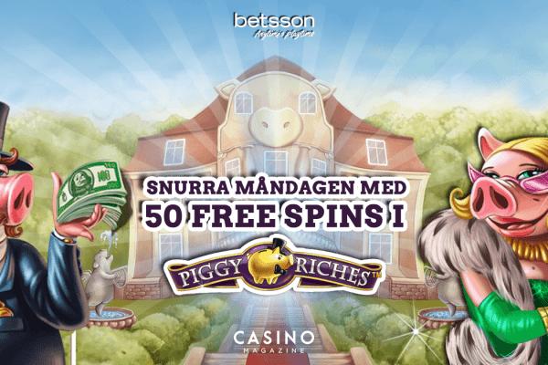 Hämta 50 free spins till Piggy Riches hos Betsson