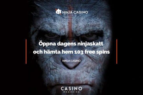 NinjaCasino bjuder in till 103 free spins idag