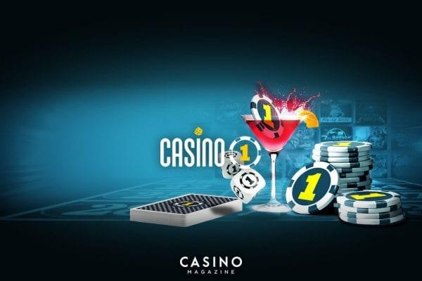 Casino 1 banner spelkort och cocktail