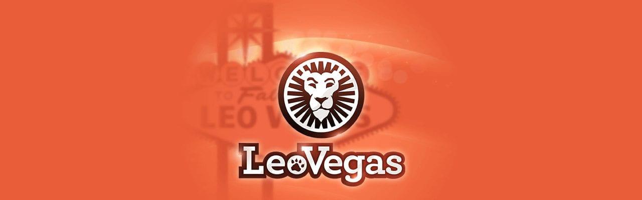 LeoVegas orange banner med LeoVegas lejonet i mitten
