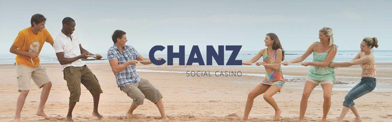 Chanz Social Casino banner dragkamp på stranden