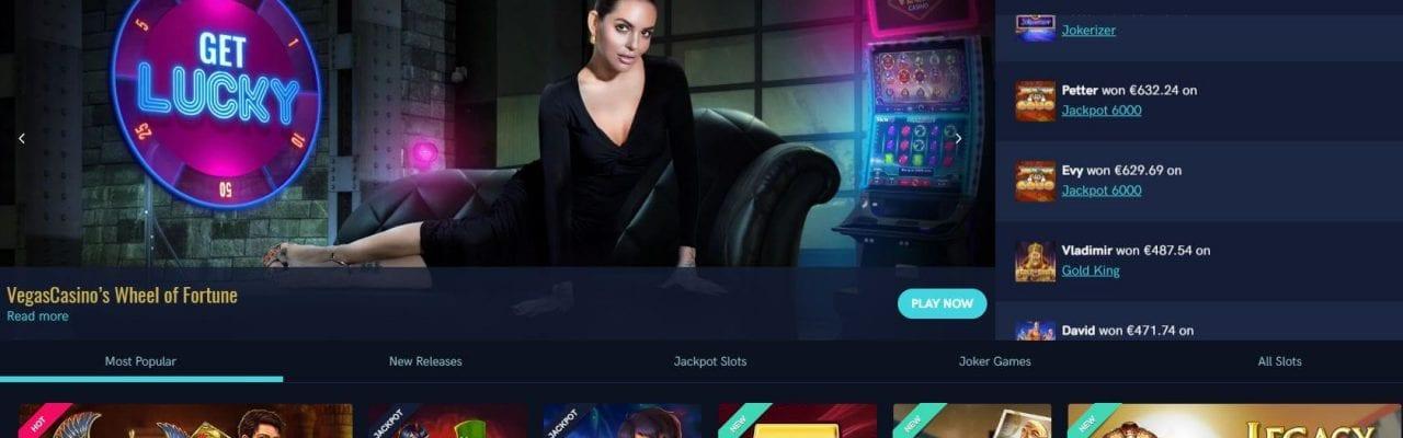 Vegascasino startsida screenshot